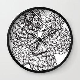 Engraved Raspberries Wall Clock