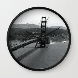 Golden Gate from the Marin Headlands - black & white  Wall Clock