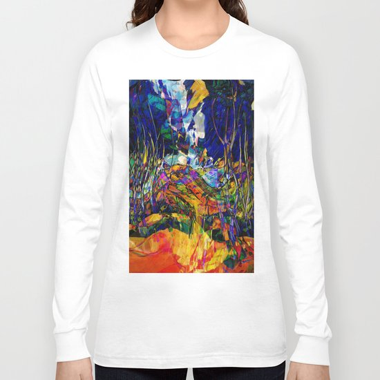 beautiful road in the night autumn forest Long Sleeve T-shirt