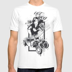 Hot Rot White MEDIUM Mens Fitted Tee