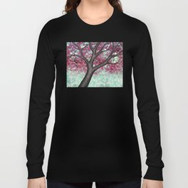 black capped chickadees and spring bokeh Long Sleeve T-shirt