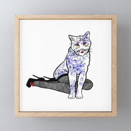Porcelain Inked Cat Framed Mini Art Print