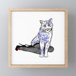 Porcelain Inked Cat Framed Mini Art Print
