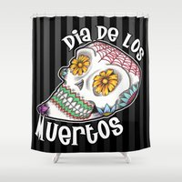 dia de los muertos Shower Curtains featuring Dia De Los Muertos by Beneath The Floorboards