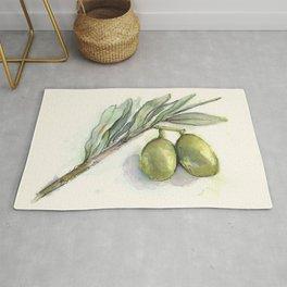 Olive Branch | Green Olives | Watercolor Illustration Rug