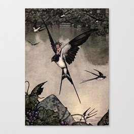 """Thumbelina"" Fairy Tale by W Heath Robinson Canvas Print"