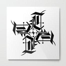 Typographic Art Monogram Initial T Metal Print