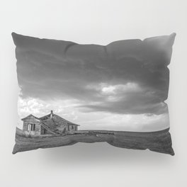 Sweeping Down the Plains - Abandoned House and Storm in Oklahoma Pillow Sham