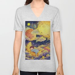 Sleeping in the moonlinght Unisex V-Neck