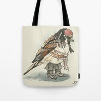 jack sparrow Tote Bags featuring Captain Jack Sparrow by victorygarlic - Niki