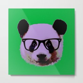Panda with Nerd Glasses in Green Metal Print