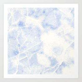 Blue and White Marble Waves Art Print