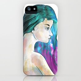 Watercolor Sea Portrait iPhone Case