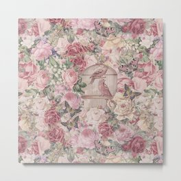 Romantic Flower Pattern And Birdcage Metal Print