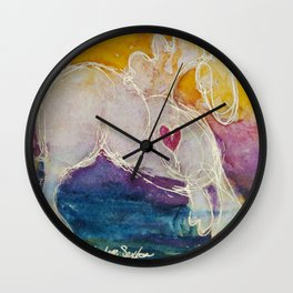 pink golden heart horse pony watercolor by CheyAnne Sexton Wall Clock