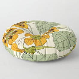 Maurice Verneuil - Capucine - botanical poster Floor Pillow