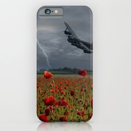 Lancaster Bomber Over A Poppy Field iPhone Case