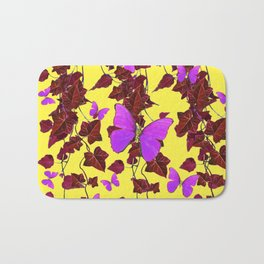 BROWN HANGING IVY LILAC BUTTERFLIES ON YELLOW ART Bath Mat