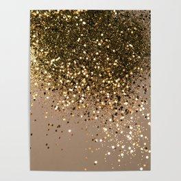 Sparkling Gold Brown Glitter Glam #1 (Faux Glitter) #shiny #decor #art #society6 Poster
