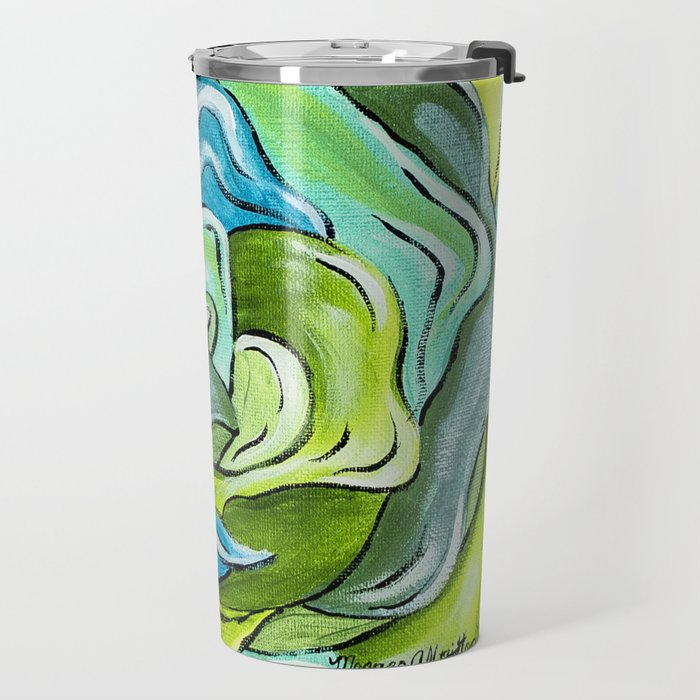 Floral in Green & Blue Travel Mug