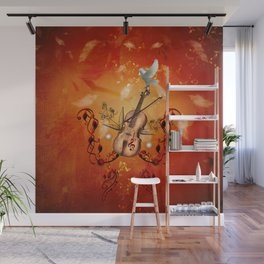 Violin with violin bow and dove Wall Mural