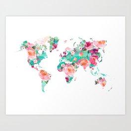 Watercolor floral world map Art Print