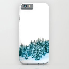 Snowy Winter Forest, Green iPhone Case