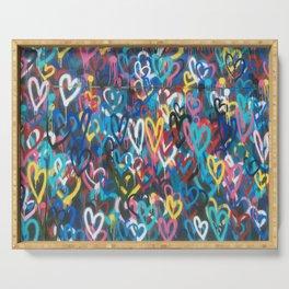 Love Hearts Abstract Graffiti Street Art Serving Tray