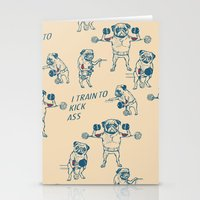 workout Stationery Cards featuring Pug Workout by Huebucket