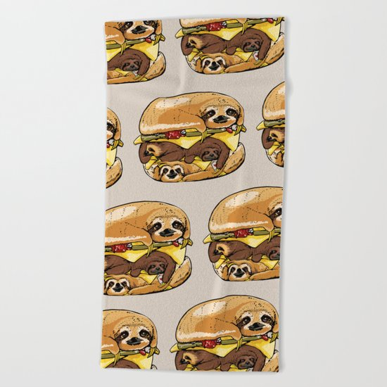 Sloths Burger Beach Towel