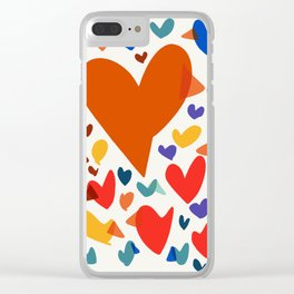 Illustration Minimal painting pattern Birds and Hearts Clear iPhone Case