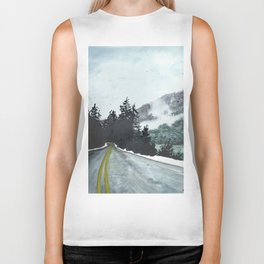 vancouver island // watercolor landscape canada snow mountain road roadtrip Biker Tank