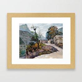 Rain in the fall Framed Art Print