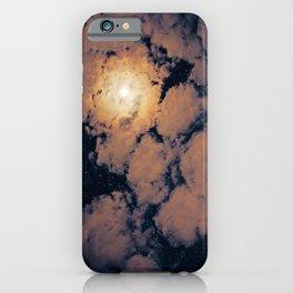 Full moon through purple clouds iPhone Case