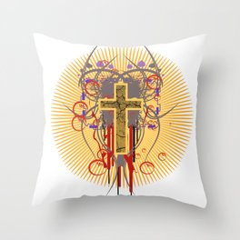 The Cross at Sunrise Throw Pillow