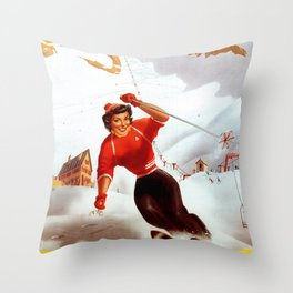 Limone Piemonte ski Italy Throw Pillow