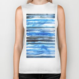 blue brush stroke Biker Tank