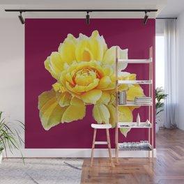 Burgundy Color Yellow Rose Flower Art Design Pattern Abstract Art Garden Wall Mural