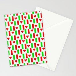 Flag of Italy with heart - Italy,Italia,Italian,Latine,Roma,venezia,venice,mediterreanean,Genoa,fire Stationery Cards