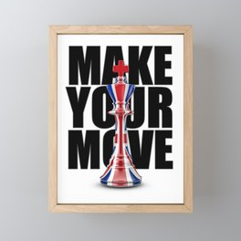 Make Your Move UK / 3D render of chess king with British flag Framed Mini Art Print