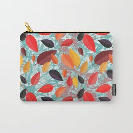 Autumn Birch Leaves on Marbled background Carry-All Pouch
