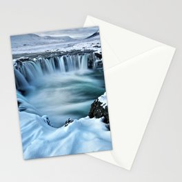 Time Lapse Landscape Photography of a Waterfall in the Snow Stationery Cards