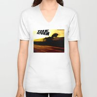 return V-neck T-shirts featuring THE RETURN by Design Gregory