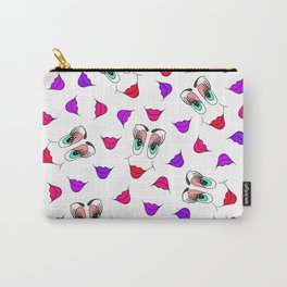 Funny Girly Pink Red Smiley Face and Lips Pattern Carry-All Pouch