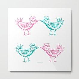 Two birds mint pink pattern Metal Print