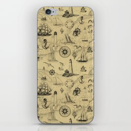 Old Map Background with Vintage Nautical Pattern iPhone Skin
