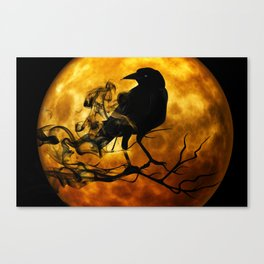 raven crow night creepy darkness Canvas Print