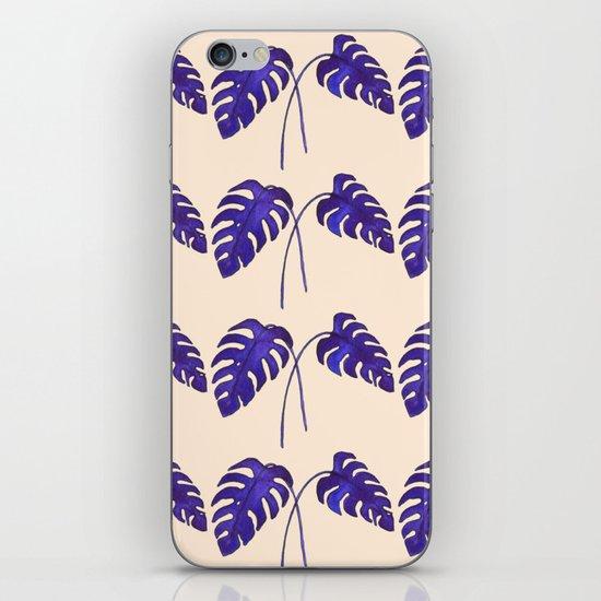 Indigo Monstera Leaf Watercolor on Blush iPhone & iPod Skin
