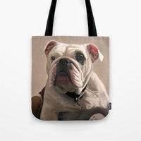 british Tote Bags featuring British Bulldog by Mel Hampson
