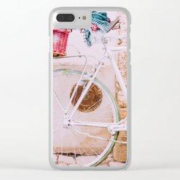 White Bike, Pink Basket Clear iPhone Case